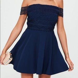 Lace Top Bardot Dress